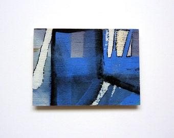 blue abstract art, miniature wood art ACEO, original wood painting