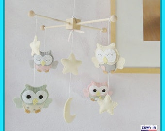 Baby Crib Mobile,Owl Mobile ,Baby Room Decor, Pink Owl Nursery, Pink and Sage theme ,Ivory Star Mobile, Match Bedding Mobile