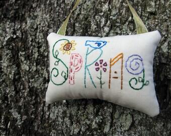 Spring Hand Embroidered Ornament, Prim Spring Decoration, Colorful Door Hanger, Blue Bird, Bird House, Woodland, Garden Flowers decor