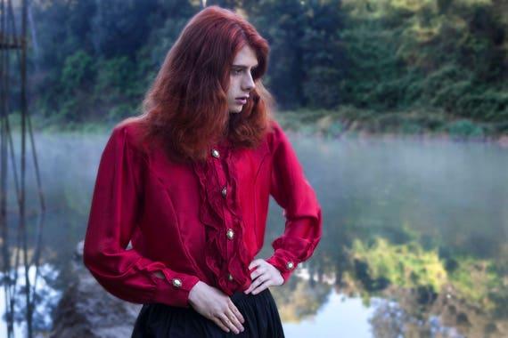 Vampire Gothic Men Red Shirt
