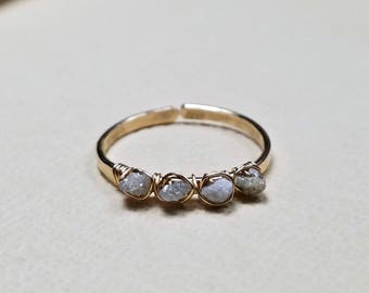 Rough Diamond Ring, Raw Diamond, Stacking Diamond Ring, Minimalist Diamond Ring, Uncut Diamond Ring: Delicate, Not For Every Day Use