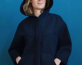 hoodie poncho // outdoor poncho  // short poncho // dark blue poncho // poncho cloak // navy blue cape // capelet