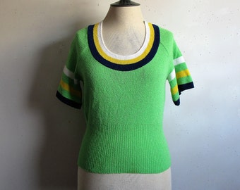 60s Green Stripe Knit Top Vintage 1960s Navy Yellow Striped Short Sleeve Knit Top Small