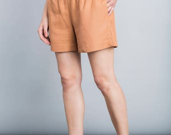 Orange pants, summer shorts, casual pants, minimal, waistband belt shorts, boho, back pocket, Casual loose fit trousers, wide leg pants