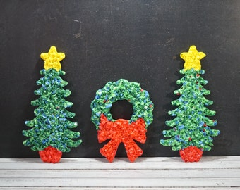 Melted Plastic Popcorn Trees and Wreath
