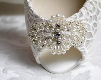Wedding Shoes - Lace Peep Toe Pump- Accessories- Women's Bridal Shoes PBP2.25 - Pink2Blue