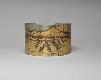 Cuff Bracelet Upstate New York Map Finger Lakes Buffalo Albany Syracuse Catskill Saratoga Unique Gift for Men or Women