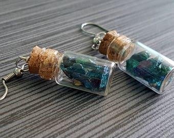 Chalcopyrite (Peacock Ore)/ Bornite Raw Stone  in a  Mini Vial Earrings