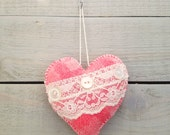 Pink Wool Felt with Lace Heart Ornament