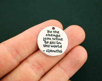 2 Be the change Charms Antique Silver Tone - you want to see in the world - Gandhi - SC6242