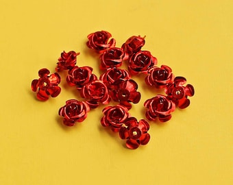 25 Flower Beads Red Color Aluminum Metallic Rose Charms 17mm x 9mm - K025