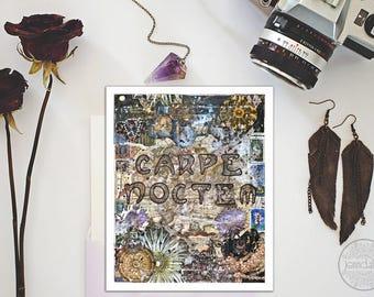 carpe noctem, seize the night, mixed media collage art, typographic print, astronomy print, giclee print, navy blue indigo purple, night sky