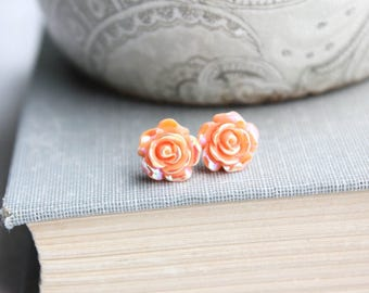 Orange Flower Stud Earrings Tiny Rose Studs Metallic Shimmer Dark Peach Floral Earrings Surgical Steel Posts Nickel Free Cute Little Studs