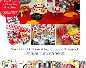 Firetruck Birthday Decorations | Firetruck Party Printable | Firefighter Birthday |  Fireman Birthday | 1st Birthday | Amandas Parties To Go