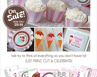 Ice Cream Party Printables | Ice Cream Birthday | Ice Cream Party Decorations | Summer Birthday | Ice Cream Social | Amanda's Parties To Go