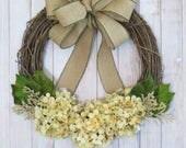 Hydrangea Wreath, Year Round Wreath, Houswarming Gift, Neutral Wreath, Spring Wreath