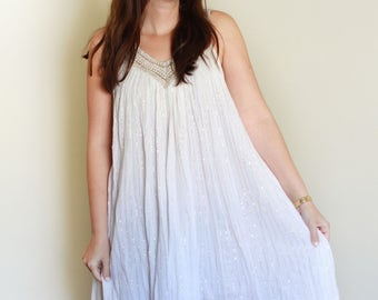 Vintage Gauze and Lurex Grecian Dress / Hippie Boho Gypsy / Free Size