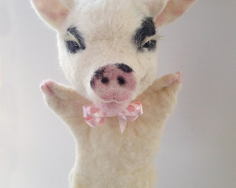 Needle felted Pig Puppet