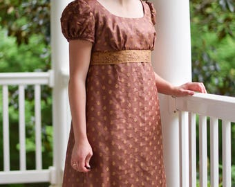 Regency Ball Gown, Jane Austen Reenactment, 19th Century Costume, Tea Dress, Brown, Size Misses 10