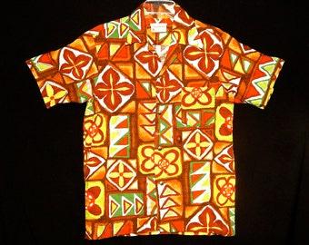 Exotic vintage 60's green yellow white brown geometric flowers barkcloth cotton Hawaiian men shirt Tiki ethnic rockabilly Pomare Tahiti S/M