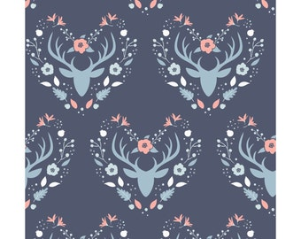 Antlers in Dark Blue  2144102-3  - MEADOW  - Camelot Cotton Fabrics - By the Yard