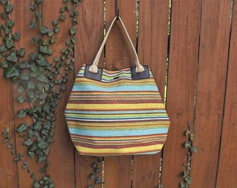 Large Beach Bag, Striped Beach Bag, Big Tote Bag, Rainbow Bag, Vintage Straw Bag, Beach Tote, Woven Straw Handbag, Summer Purse