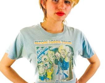 Vintage Elton John shirt 1975 Concert shirt Band Tee 70s tee 70s shirt Baby Blue Tee Iron On Boho Glam Rocker Nirvana Destroyed Rare