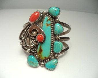 Navajo Cuff Sterling Turquoise Coral Wide Cuff Bracelet Signed JB