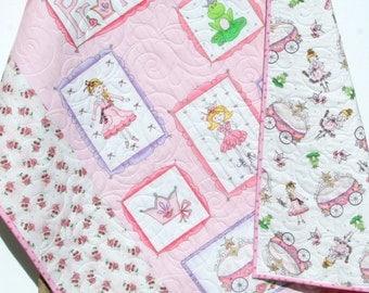 Princess Baby Quilt, Girls Princess Quilt, Fairytale Crib Bedding, Pink Purple Silver Metallic, Crown Carriage Frog, Princess Nursery