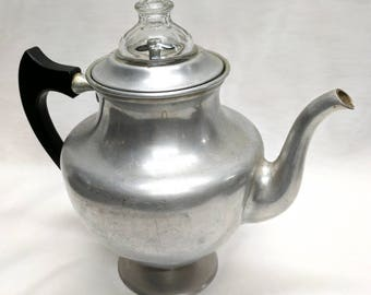 Art Deco Manning - Bowman & Co. Vintage Stove Top Percolator Coffee Pot w. Wood Handle