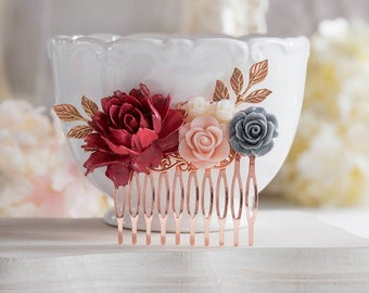 Rose Gold Dark Red Maroon Burgundy Marsala Wedding Bridal Hair Comb, Red Gray Dusty Pink Rose Flower Leaf Branch Hairpiece, Bridesmaid Gift