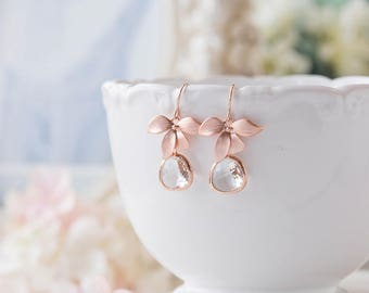 Rose Gold Earrings, Bridal Earrings, Rose Gold Jewelry, Wedding Jewelry, Bridesmaid Earrings, Bridesmaid Gift, Orchid flower Clear Crystal