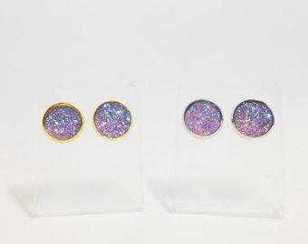 The Sugar Earrings in Lavender | Lavender Glitter Earrings | Glitter Druzy Stud Earrings | Lavender Druzy Earrings | Lavender Post Earrings