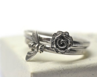 Silver Rose Ring, Silver Bee Ring, Personalized Sterling Silver Stacking Rings Set, Gift for Her, Custom Engraved Flower & Honeybee Jewelry