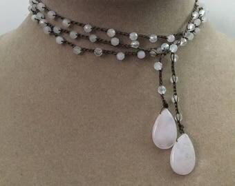 Crocheted Lariat Boho Choker Rose Quartz Gemstone Necklace