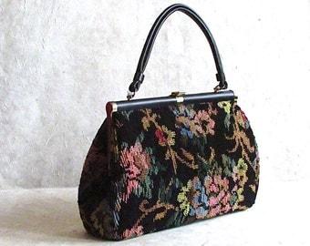 CARPET BAG Vintage 60s Purse | 1960's Black Floral Tapestry Handbag | Hippie, Boho, Bohemian, Rockabilly