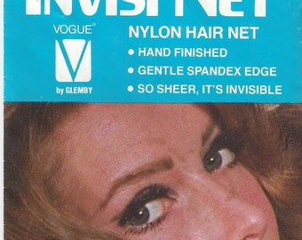 Vintage Invisi Net Vogue by Blemby Dark Brown Nylon Hair Nets, 1980s