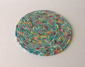Spring Print Coiled Rope Trivet, Aqua Fabric Hot Pad, Candle Mat, Quiltsy Handmade