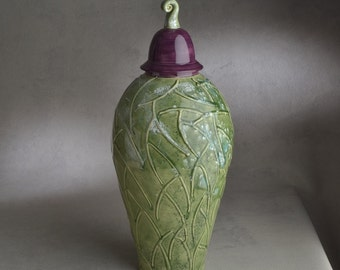 Lidded Jar Ready To Ship Purple and Green Lidded Jar by Symmetrical Pottery