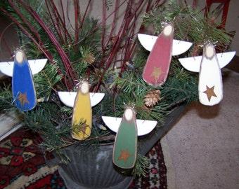 SET of 3 Primitive Christmas Decorations Three Wood Angel Ornaments from Darlas Closet