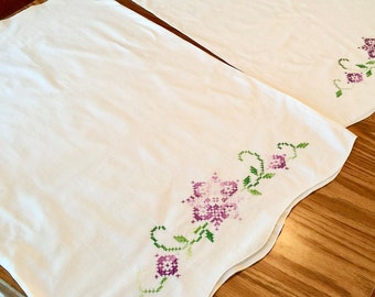 Vintage Pair of Embroidered Pillowcases