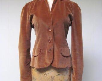 Vintage 1970s Jacket / 70s Fitted Brown Velvet Jacket / Small