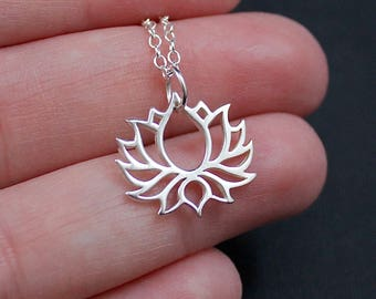 Sterling Silver Lotus Flower Necklace | Blooming Lotus Flower Necklace | Lotus Flower Jewelry | Yoga Necklace | Yoga Jewelry | Gift for Her
