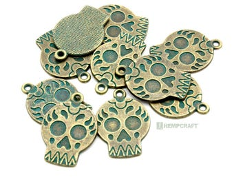 Sugar Skull Charms, 10pc Patina Bronze Charms, 22x16mm