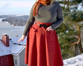 50s style burnt orange wool winter skirt with pockets, size US 12 / pin up skirt / vintage style skirt / hand made / swing skirt