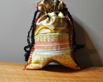 Boho Bag/Japanese Boro Inspired Drawstring Pouch Purse with Kanji/Handsewn/Fully Lined made from Upcycled Materials