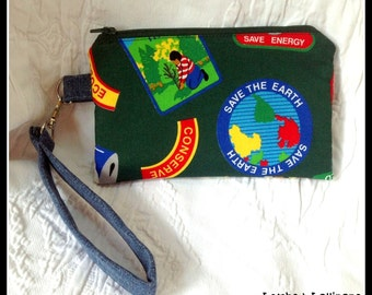 Zippered WRISTLET-Save the Earth-Zippered Pouch-Bag-Stop Pollution-Extinct is Forever-Save Energy-Ready to Ship