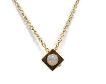 Trifari Opal Birthday Cube Pendant, Girl Necklace, Faux Opal, Vintage Jewelry, October Birthday, 14 Inch, Crown Trifari