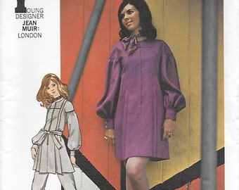 Butterick 5955 Misses' 70 Mini Dress or Tunic & Pants Sewing Pattern Designer Jean Muir Size 12 Bust 34