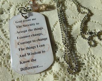 Christian Jewelry Serenity Prayer Necklace Serenity Prayer Pendant Serenity Prayer Dogtag Pendant